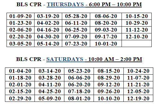 cpr schedule bls hospital provider heart carney programs