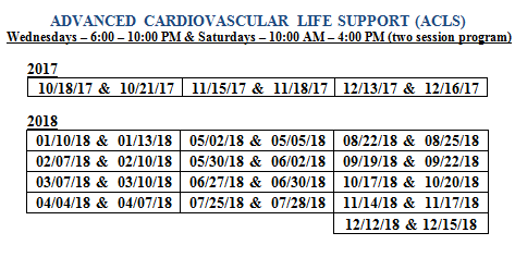 2018 ACLS FULL Course Schedule Final